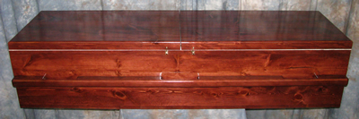 Pine Box Casket with 2 piece lid.