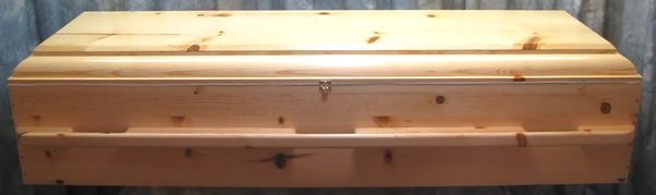New style pine box casket w/raised lid design